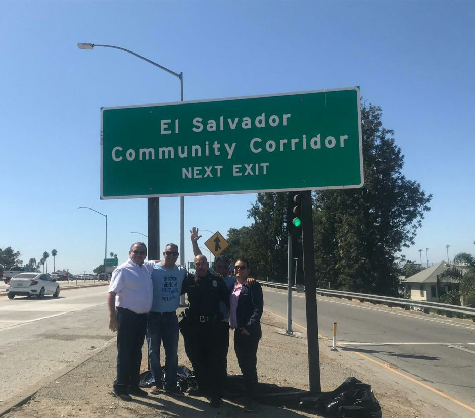 The Salvadoran community reveals its sign on the I-10 highway of L.A.