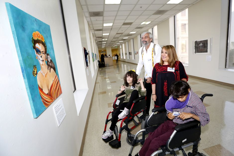 People with disabilities show their art at the LA City Hall