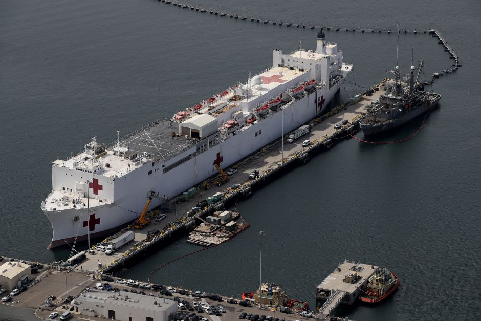 The hospital ship USNS Mercy arrived at the port of Los Angeles to assist hospitals