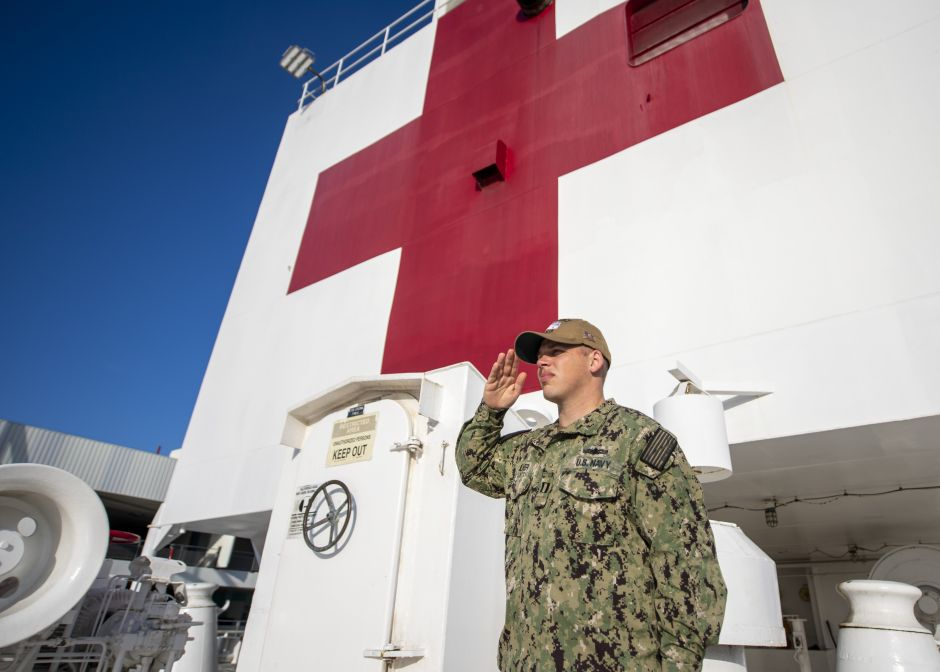 Crew member of the USNS Mercy hospital ship anchored in L.A. positive for coronavirus