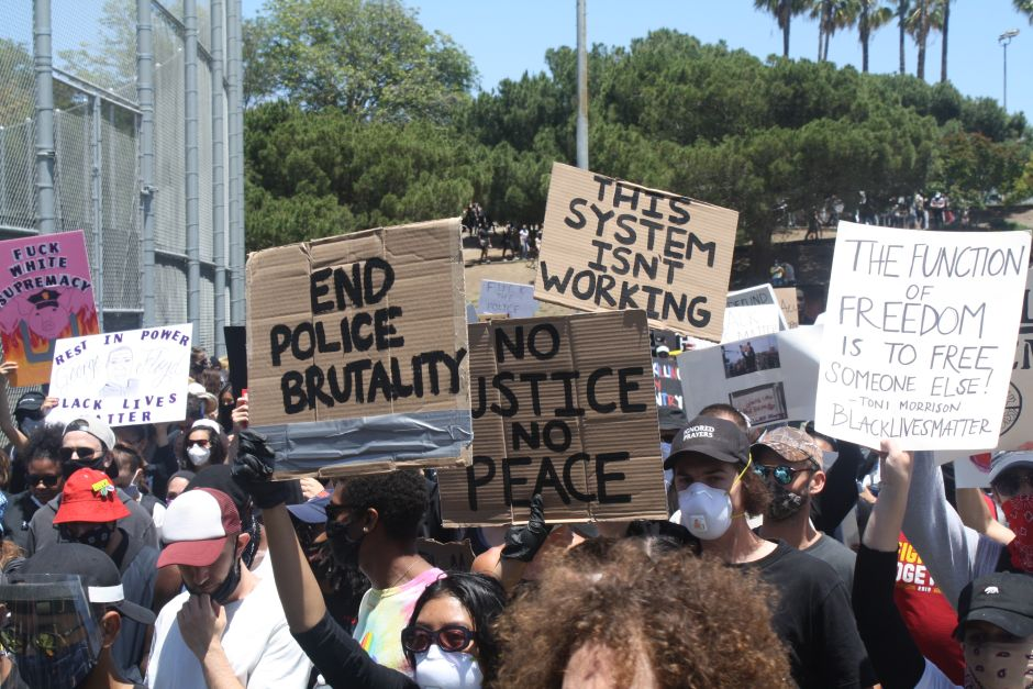 The Hollywood district was the scene of protests on the third curfew day in Los Angeles